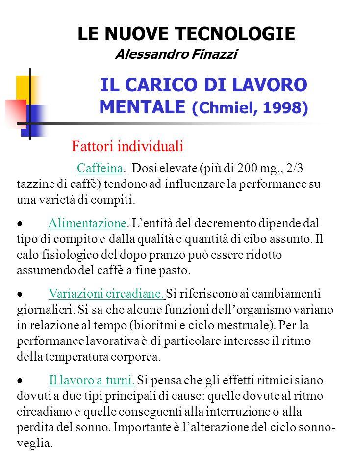 LE NUOVE TECNOLOGIE Alessandro Finazzi IL CARICO DI LAVORO MENTALE (Chmiel, 1998) Fattori individuali Caffeina.
