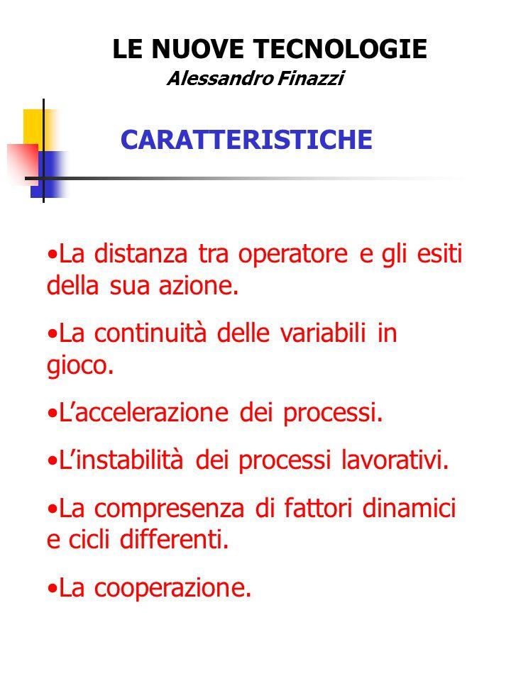 LE NUOVE TECNOLOGIE Alessandro Finazzi CARATTERISTICHE La distanza tra operatore e gli esiti della sua azione.