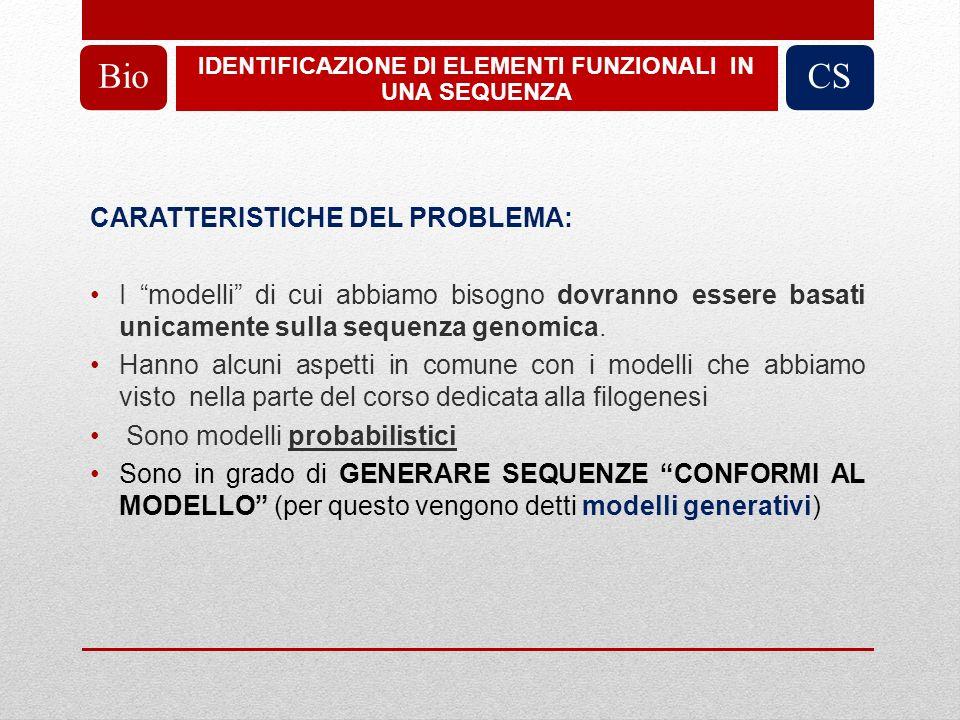 CARATTERISTICHE DEL PROBLEMA: I modelli di cui abbiamo bisogno dovranno essere basati unicamente sulla sequenza genomica.