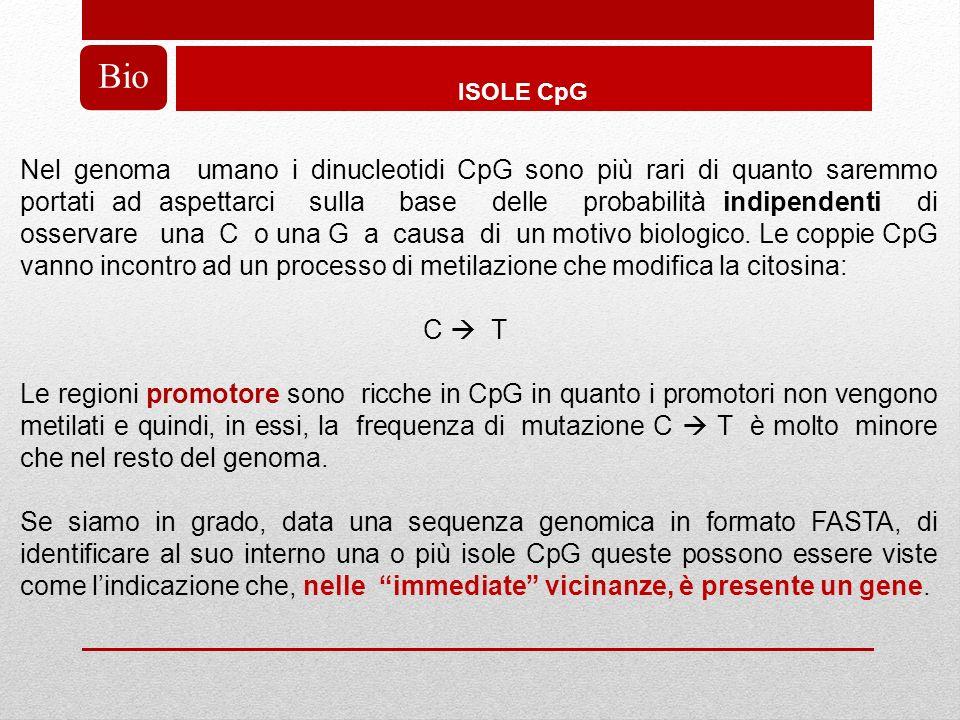 ISOLE CpG Bio Nel genoma umano i dinucleotidi CpG sono più rari di quanto saremmo portati ad aspettarci sulla base delle probabilità indipendenti di osservare una C o una G a causa di un motivo biologico.