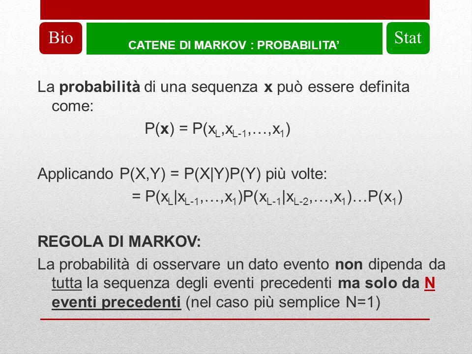 CATENE DI MARKOV : PROBABILITA BioStat La probabilità di una sequenza x può essere definita come: P(x) = P(x L,x L-1,…,x 1 ) Applicando P(X,Y) = P(X|Y)P(Y) più volte: = P(x L |x L-1,…,x 1 )P(x L-1 |x L-2,…,x 1 )…P(x 1 ) REGOLA DI MARKOV: La probabilità di osservare un dato evento non dipenda da tutta la sequenza degli eventi precedenti ma solo da N eventi precedenti (nel caso più semplice N=1)