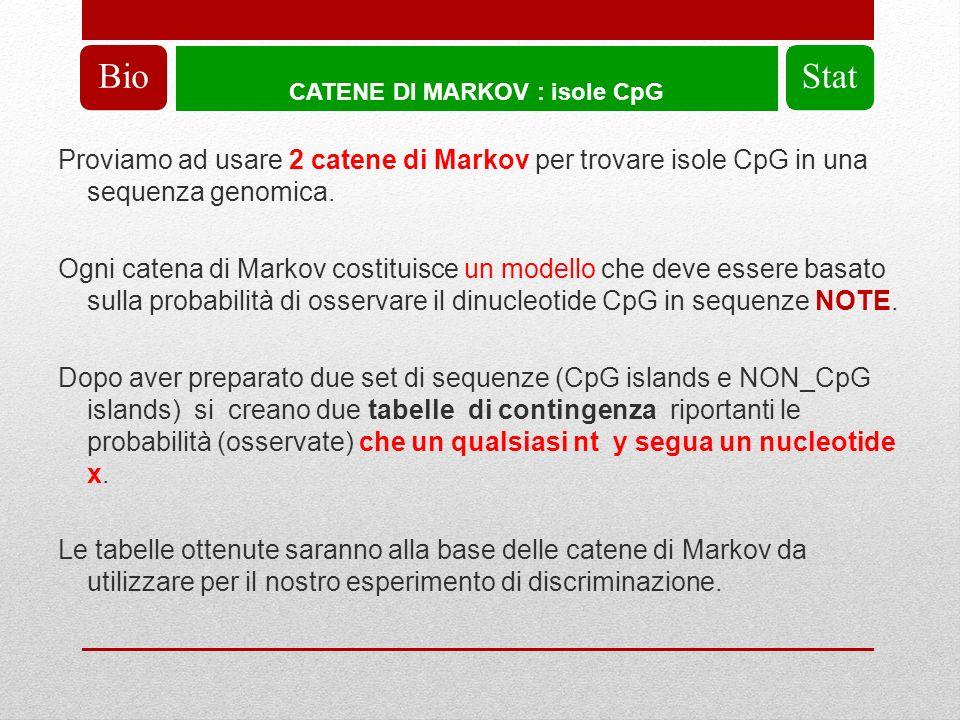 CATENE DI MARKOV : isole CpG BioStat Proviamo ad usare 2 catene di Markov per trovare isole CpG in una sequenza genomica.