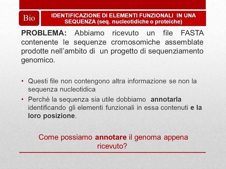 PROBLEMA: Abbiamo ricevuto un file FASTA contenente le sequenze cromosomiche assemblate prodotte nellambito di un progetto di sequenziamento genomico.