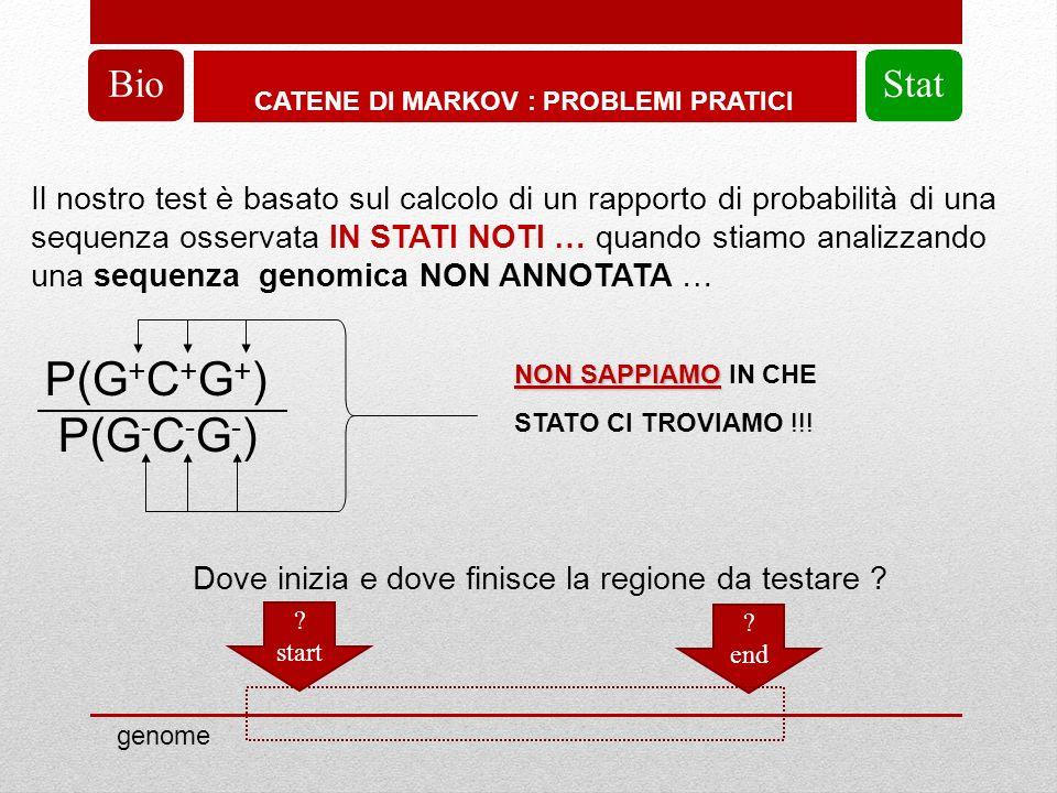 CATENE DI MARKOV : PROBLEMI PRATICI BioStat Il nostro test è basato sul calcolo di un rapporto di probabilità di una sequenza osservata IN STATI NOTI … quando stiamo analizzando una sequenza genomica NON ANNOTATA … P(G + C + G + ) P(G - C - G - ) Dove inizia e dove finisce la regione da testare .