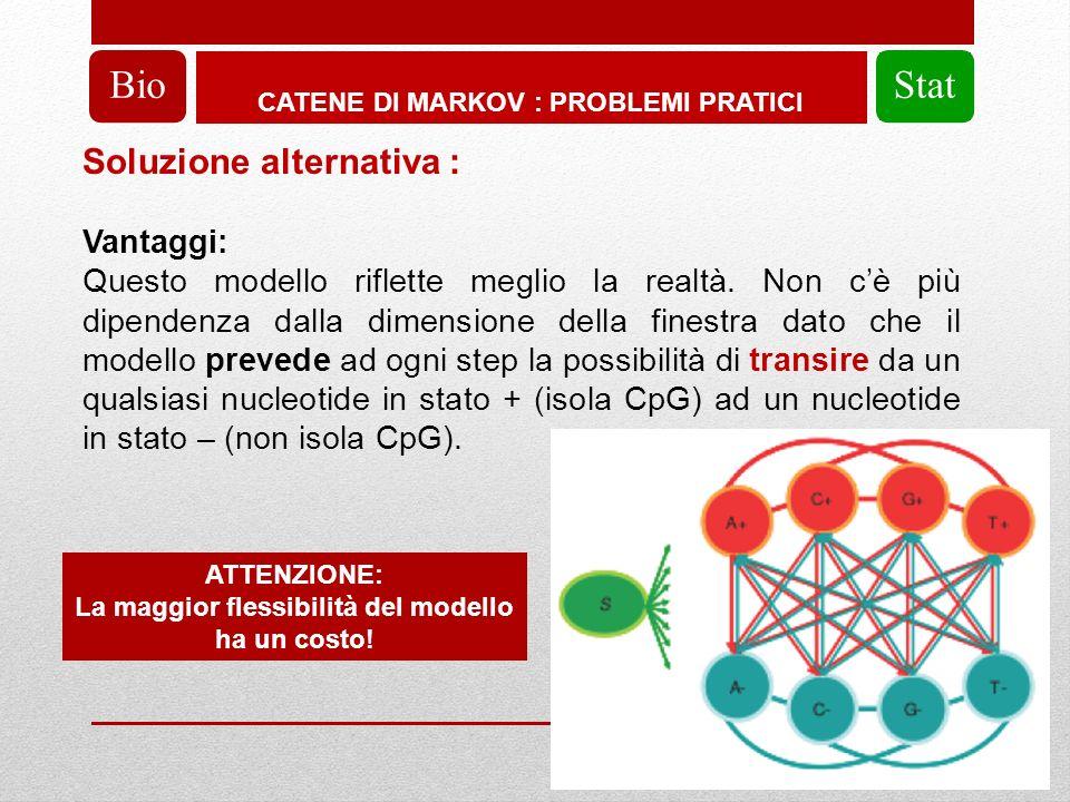 CATENE DI MARKOV : PROBLEMI PRATICI BioStat Soluzione alternativa : Vantaggi: Questo modello riflette meglio la realtà.