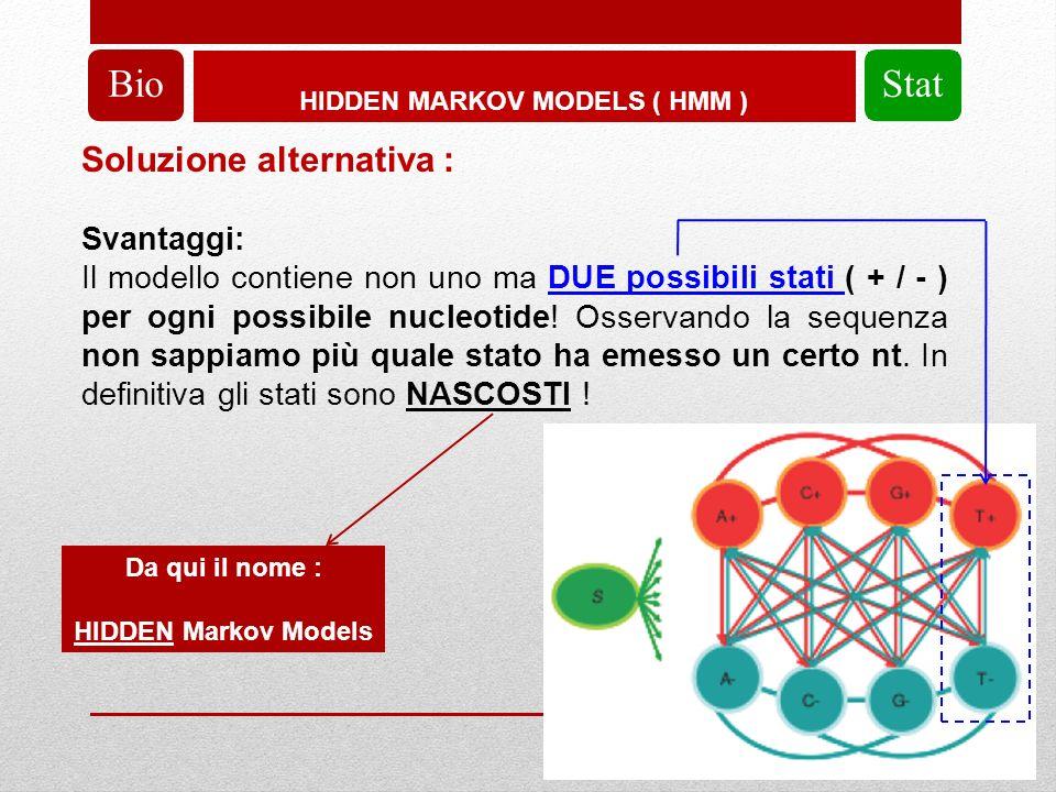 HIDDEN MARKOV MODELS ( HMM ) BioStat Soluzione alternativa : Svantaggi: Il modello contiene non uno ma DUE possibili stati ( + / - ) per ogni possibile nucleotide.