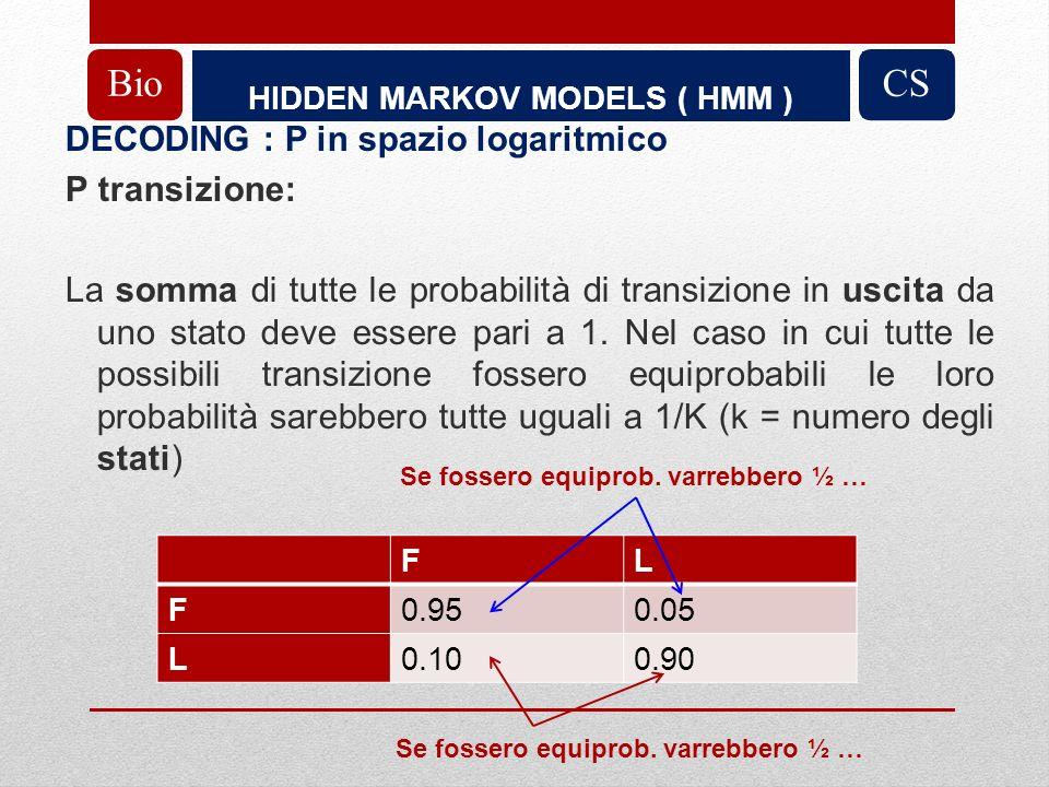 HIDDEN MARKOV MODELS ( HMM ) BioCS DECODING : P in spazio logaritmico P transizione: La somma di tutte le probabilità di transizione in uscita da uno stato deve essere pari a 1.