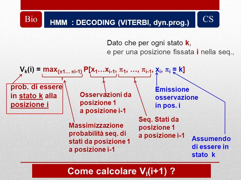 HMM : DECODING (VITERBI, dyn.prog.) BioCS Dato che per ogni stato k, e per una posizione fissata i nella seq., V k (i) = max { 1… i-1} P[x 1 …x i-1, 1, …, i-1, x i, i = k] prob.