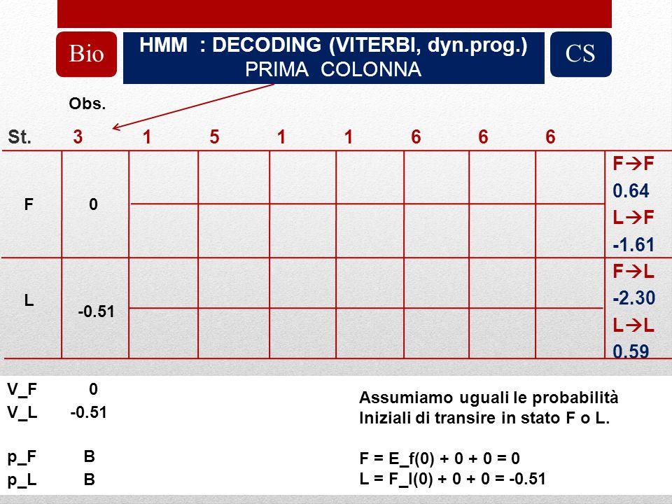 HMM : DECODING (VITERBI, dyn.prog.) PRIMA COLONNA BioCS St.