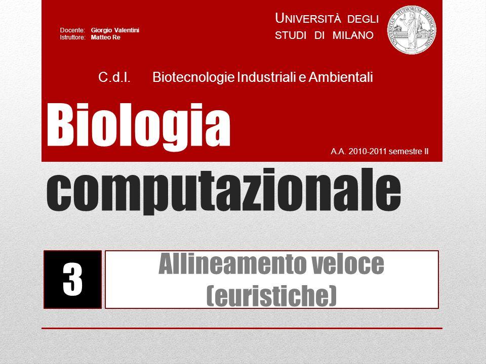 Biologia computazionale A.A. 2010-2011 semestre II U NIVERSITÀ DEGLI STUDI DI MILANO Docente: Giorgio Valentini Istruttore: Matteo Re 3 Allineamento v