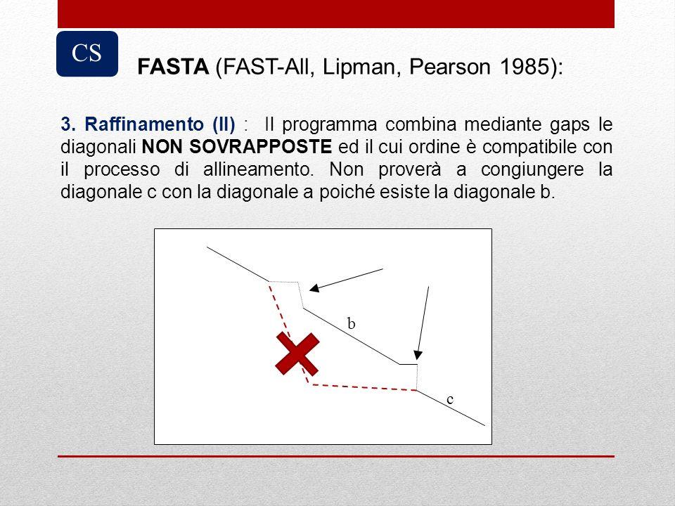 3. Raffinamento (II) : Il programma combina mediante gaps le diagonali NON SOVRAPPOSTE ed il cui ordine è compatibile con il processo di allineamento.