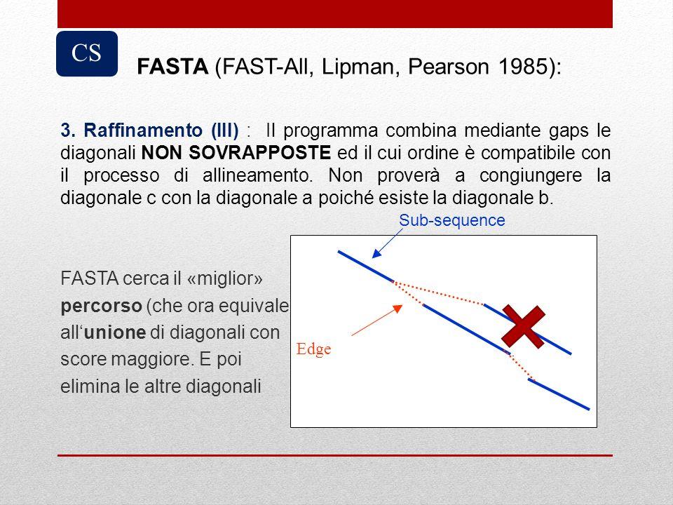 3. Raffinamento (III) : Il programma combina mediante gaps le diagonali NON SOVRAPPOSTE ed il cui ordine è compatibile con il processo di allineamento