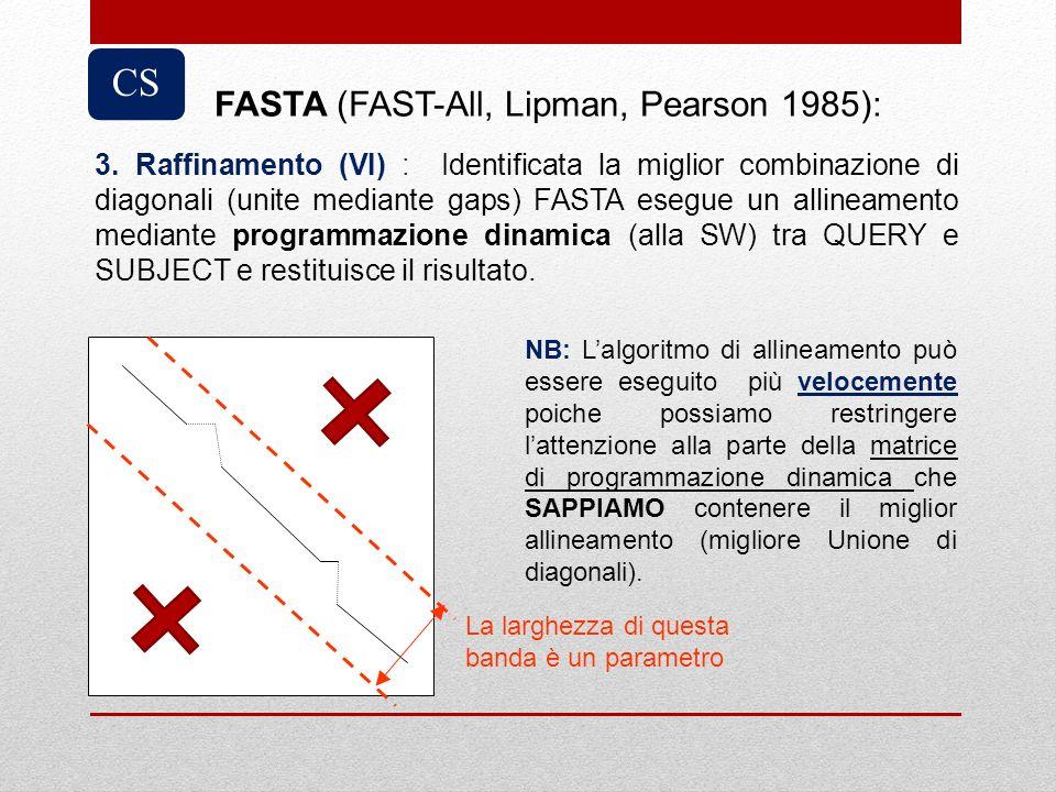 3. Raffinamento (VI) : Identificata la miglior combinazione di diagonali (unite mediante gaps) FASTA esegue un allineamento mediante programmazione di