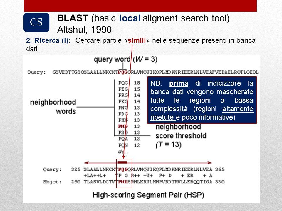 CS BLAST (basic local aligment search tool) Altshul, 1990 2. Ricerca (I): Cercare parole «simili» nelle sequenze presenti in banca dati NB: prima di i