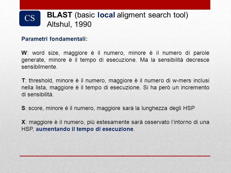 CS BLAST (basic local aligment search tool) Altshul, 1990 Parametri fondamentali: W: word size, maggiore è il numero, minore è il numero di parole gen