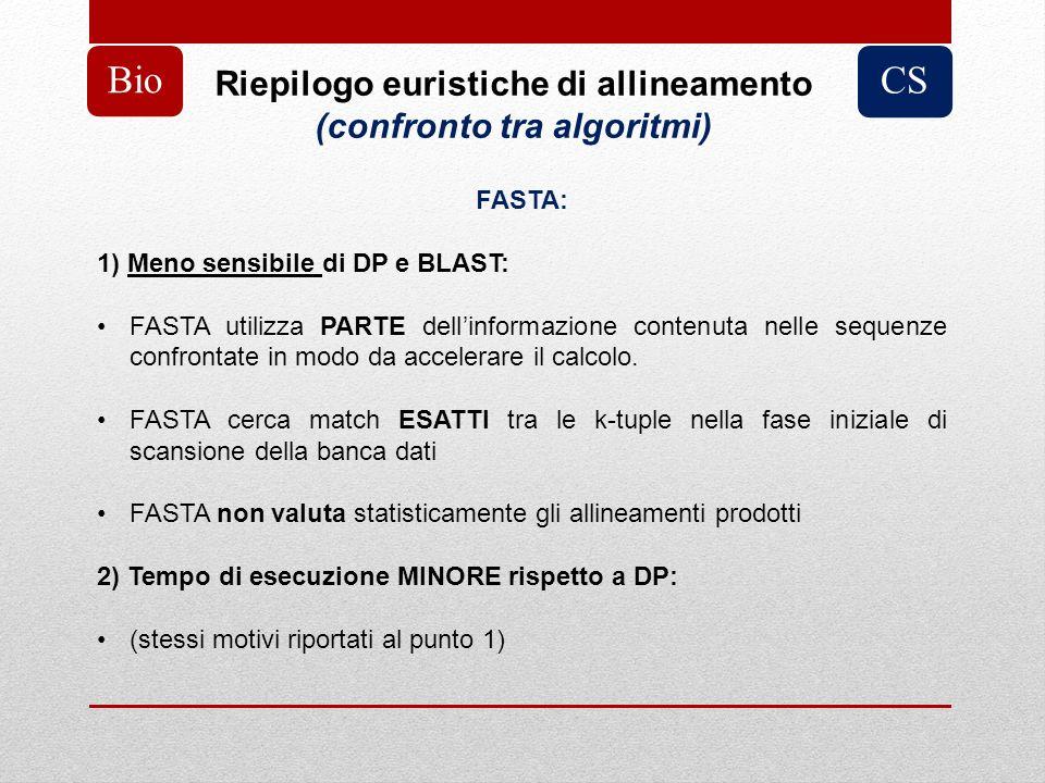 Riepilogo euristiche di allineamento (confronto tra algoritmi) BioCS FASTA: 1) Meno sensibile di DP e BLAST: FASTA utilizza PARTE dellinformazione con
