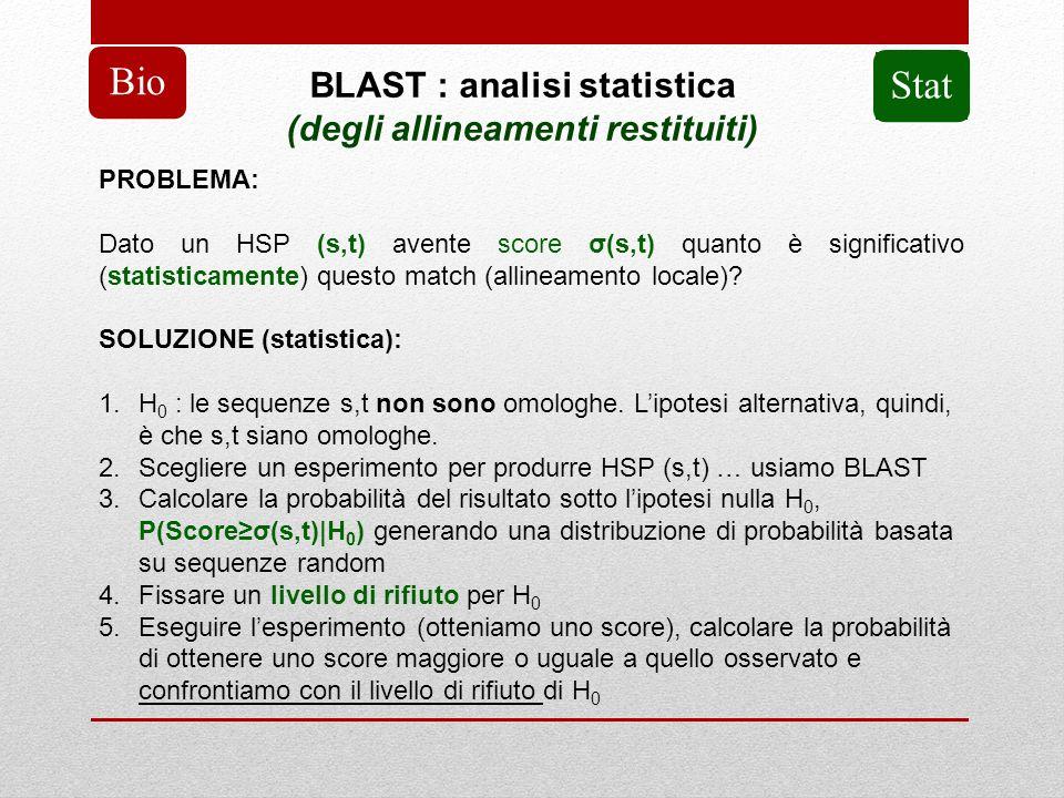 BLAST : analisi statistica (degli allineamenti restituiti) Bio PROBLEMA: Dato un HSP (s,t) avente score σ(s,t) quanto è significativo (statisticamente