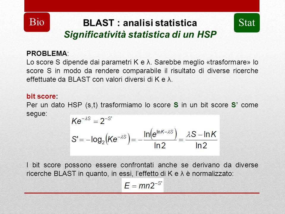 BLAST : analisi statistica Significatività statistica di un HSP Bio PROBLEMA: Lo score S dipende dai parametri K e λ. Sarebbe meglio «trasformare» lo