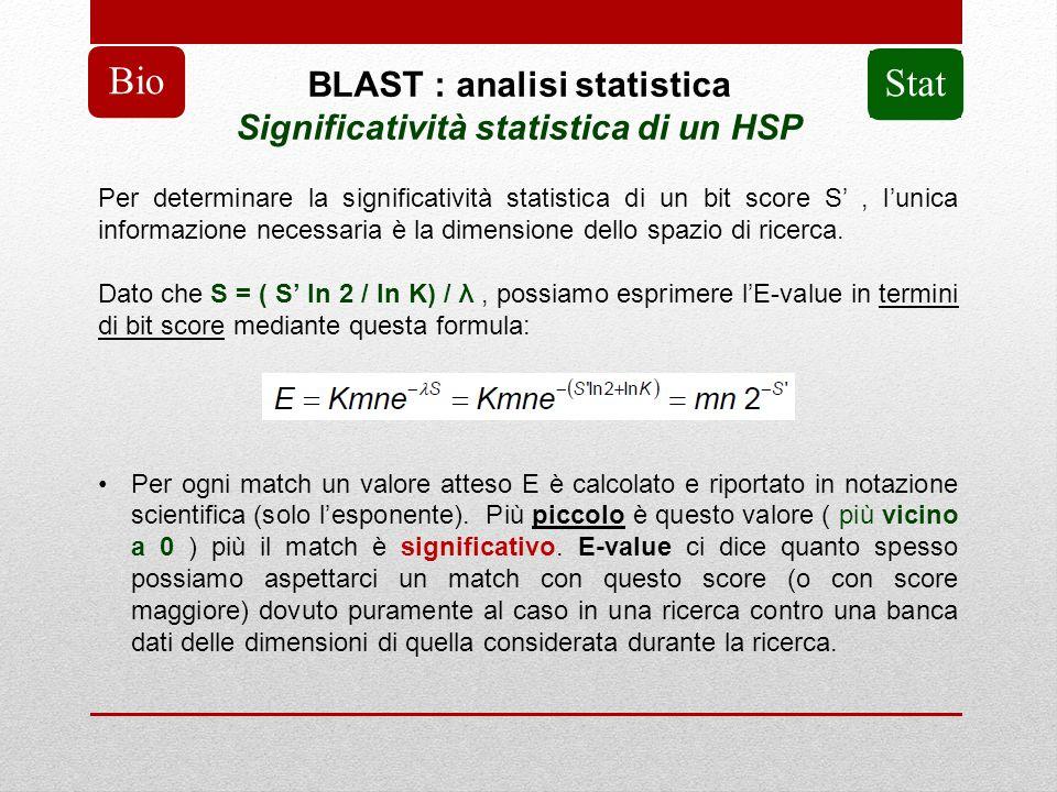 BLAST : analisi statistica Significatività statistica di un HSP Bio Per determinare la significatività statistica di un bit score S, lunica informazio