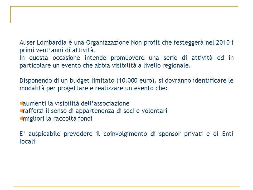 Auser Lombardia è una Organizzazione Non profit che festeggerà nel 2010 i primi ventanni di attività.