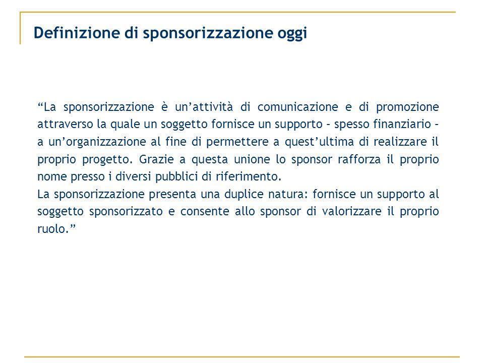 Definizione di sponsorizzazione oggi La sponsorizzazione è unattività di comunicazione e di promozione attraverso la quale un soggetto fornisce un supporto – spesso finanziario – a unorganizzazione al fine di permettere a questultima di realizzare il proprio progetto.