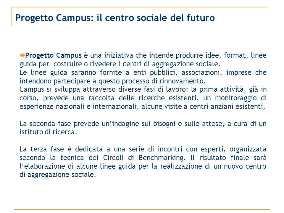 Progetto Campus: il centro sociale del futuro Progetto Campus è una iniziativa che intende produrre idee, format, linee guida per costruire o rivedere i centri di aggregazione sociale.