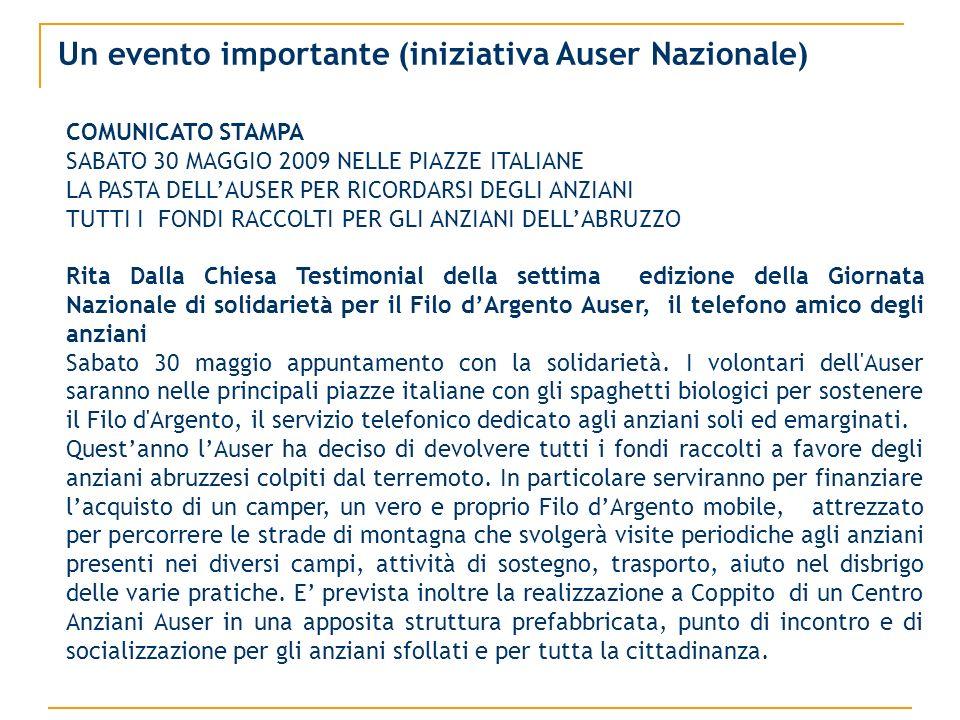 Un evento importante (iniziativa Auser Nazionale) COMUNICATO STAMPA SABATO 30 MAGGIO 2009 NELLE PIAZZE ITALIANE LA PASTA DELLAUSER PER RICORDARSI DEGLI ANZIANI TUTTI I FONDI RACCOLTI PER GLI ANZIANI DELLABRUZZO Rita Dalla Chiesa Testimonial della settima edizione della Giornata Nazionale di solidarietà per il Filo dArgento Auser, il telefono amico degli anziani Sabato 30 maggio appuntamento con la solidarietà.