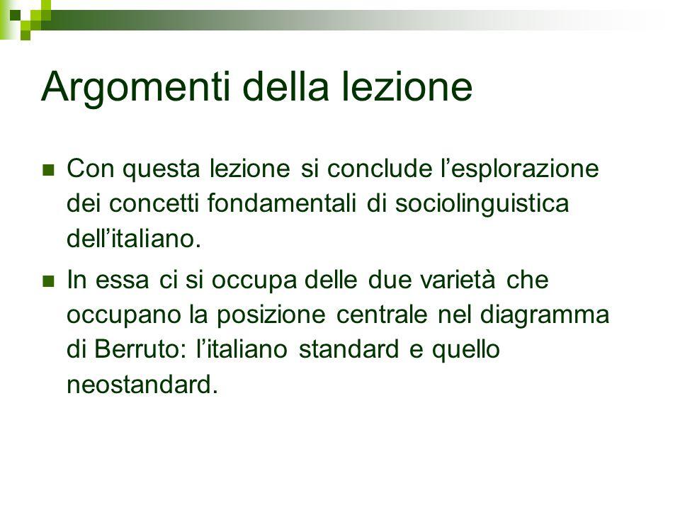 Il senso della questione Italiano standard e neostandard, che occupano la posizione centrale nellarchitettura delle varietà dellitaliano costituiscono la scelta elettiva per il comunicatore professionale.