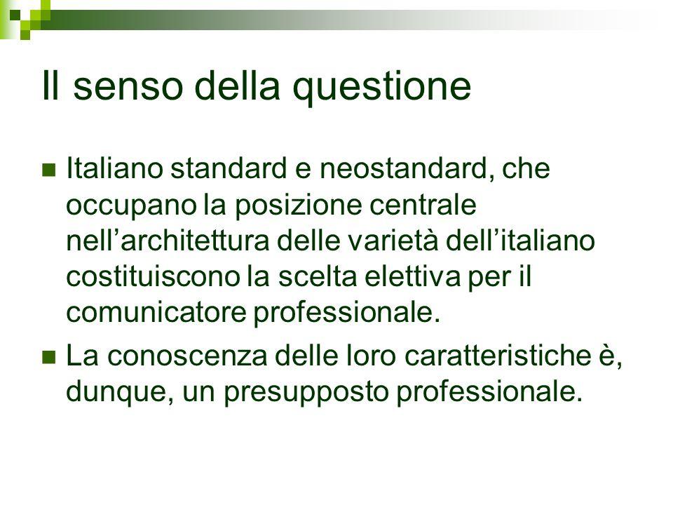 Il senso della questione Italiano standard e neostandard, che occupano la posizione centrale nellarchitettura delle varietà dellitaliano costituiscono