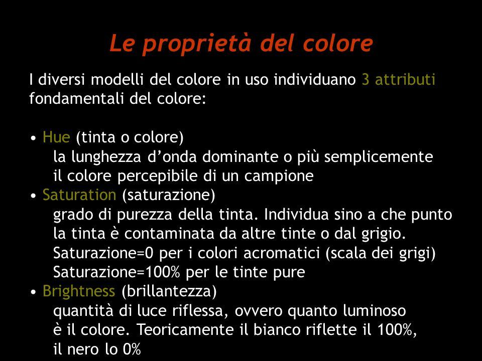 Le proprietà del colore I diversi modelli del colore in uso individuano 3 attributi fondamentali del colore: Hue (tinta o colore) la lunghezza donda d