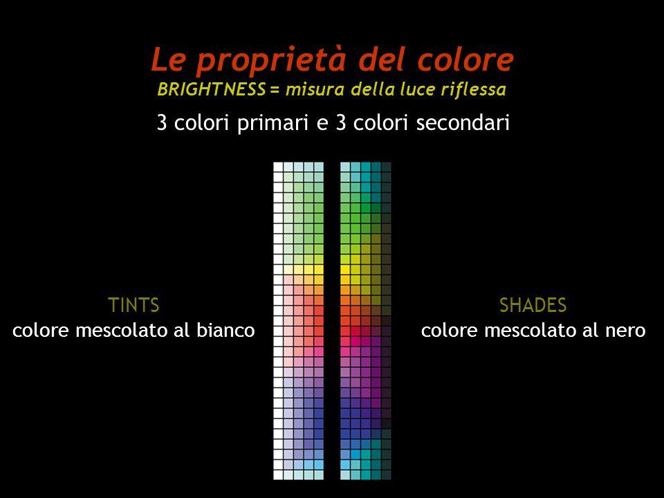 Le proprietà del colore BRIGHTNESS = misura della luce riflessa 3 colori primari e 3 colori secondari TINTS colore mescolato al bianco SHADES colore m