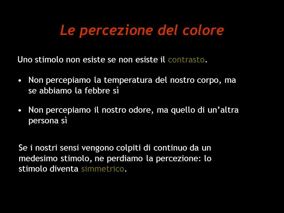Le percezione del colore Uno stimolo non esiste se non esiste il contrasto. Non percepiamo la temperatura del nostro corpo, ma se abbiamo la febbre sì