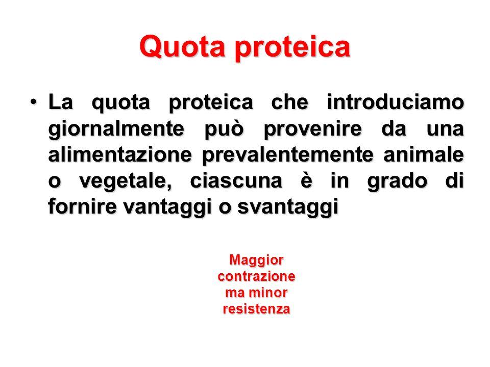 Quota proteica La quota proteica che introduciamo giornalmente può provenire da una alimentazione prevalentemente animale o vegetale, ciascuna è in gr