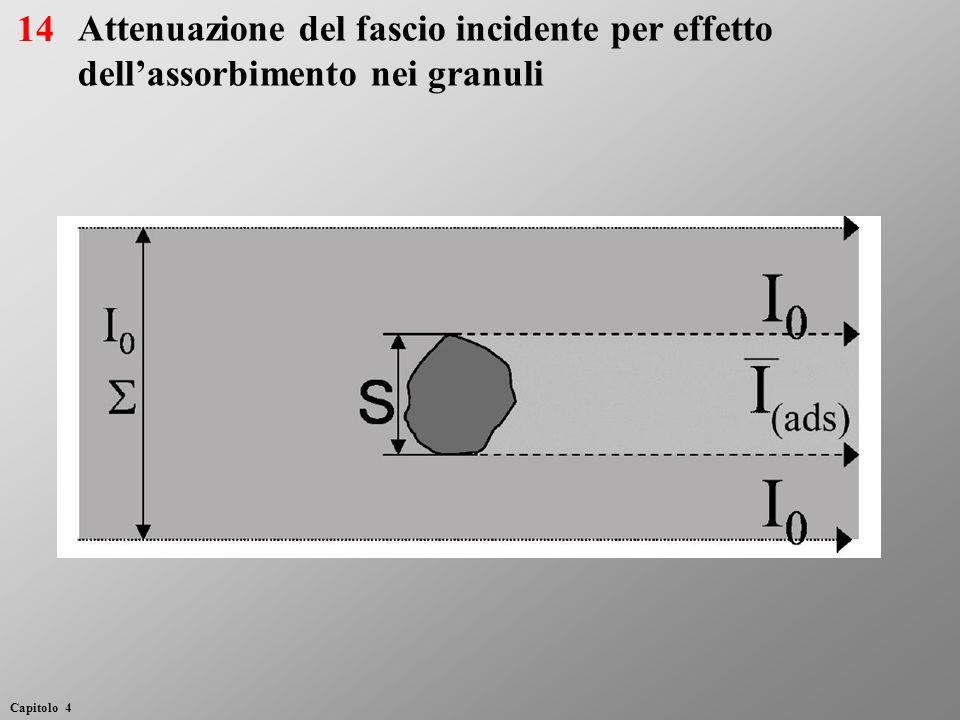 Attenuazione del fascio incidente per effetto dellassorbimento nei granuli 14 Capitolo 4