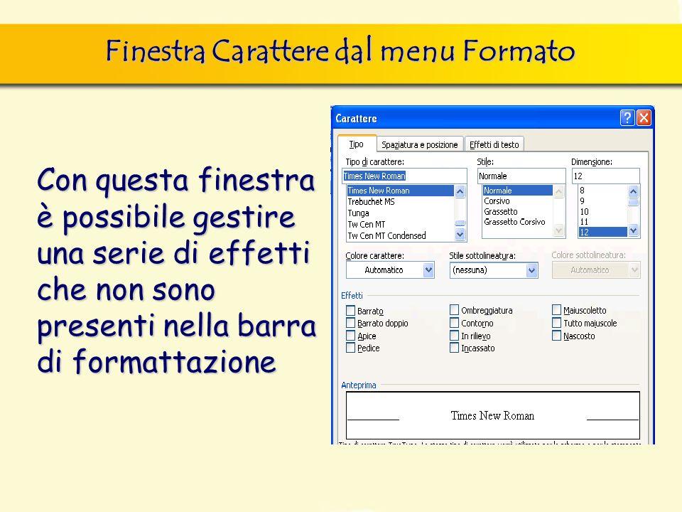 Finestra Carattere dal menu Formato finestra di dialogo Nuovo, nella quale si può scegliere sia il documento vuoto, sia un altro documento tipo, da sc