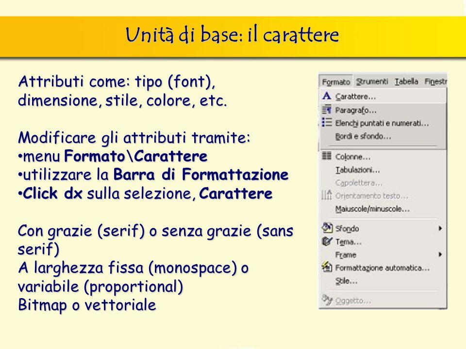 Unità di base: il carattere finestra di dialogo Nuovo, nella quale si può scegliere sia il documento vuoto, sia un altro documento tipo, da scegliere
