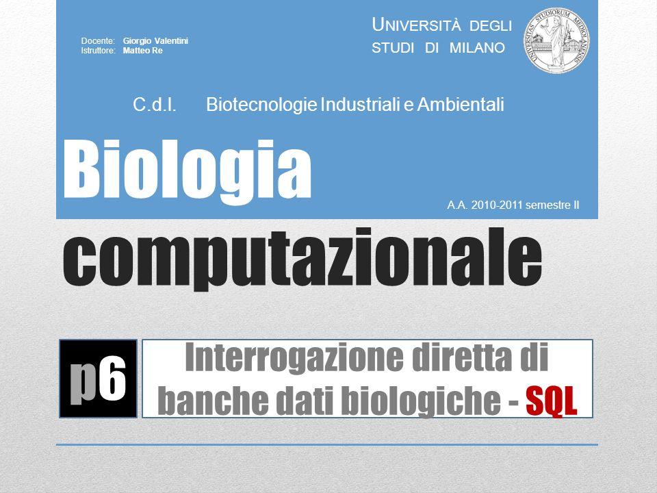 Biologia computazionale A.A. 2010-2011 semestre II U NIVERSITÀ DEGLI STUDI DI MILANO Docente: Giorgio Valentini Istruttore: Matteo Re p6p6 Interrogazi
