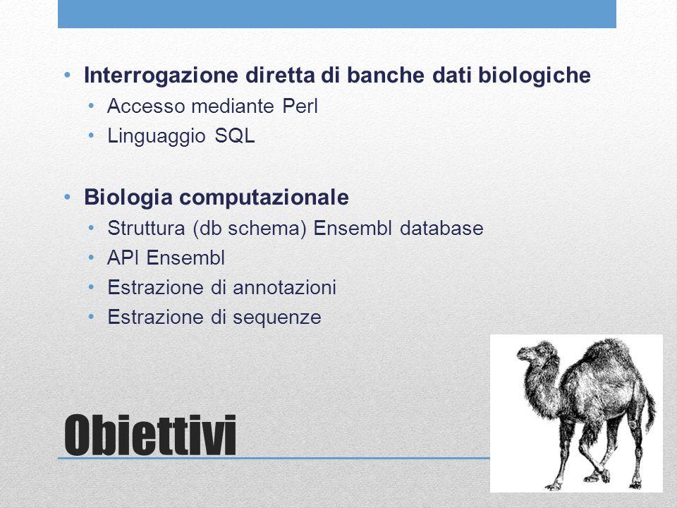 Obiettivi Interrogazione diretta di banche dati biologiche Accesso mediante Perl Linguaggio SQL Biologia computazionale Struttura (db schema) Ensembl