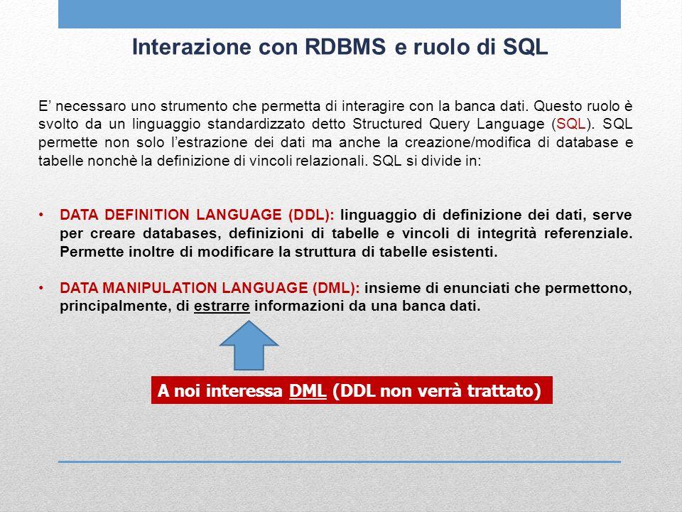 Interazione con RDBMS e ruolo di SQL E necessaro uno strumento che permetta di interagire con la banca dati. Questo ruolo è svolto da un linguaggio st
