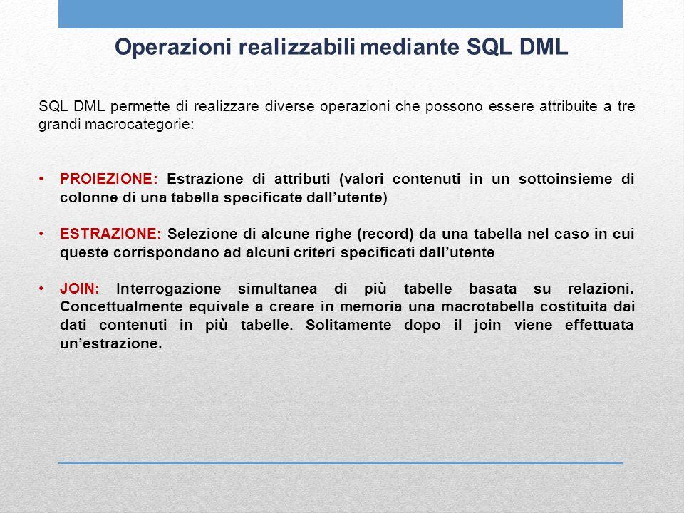 Operazioni realizzabili mediante SQL DML SQL DML permette di realizzare diverse operazioni che possono essere attribuite a tre grandi macrocategorie: