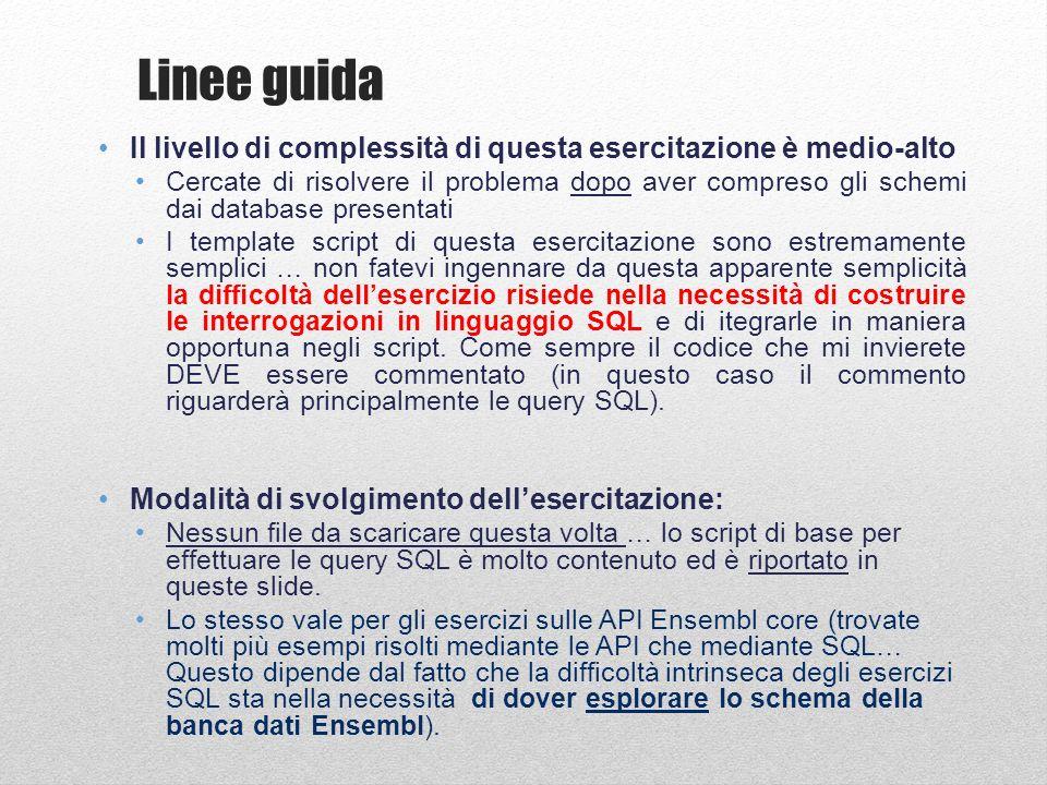 #!/usr/bin/perl BEGIN{ push @INC, C:/Perl64/site/lib/Bundle/ , C:/Users/matt/ENSEMBL/ensembl- api/ensembl/modules , C:/Users/matt/ENSEMBL/ensembl-api/ensembl- compara/modules , C:/Users/matt/ENSEMBL/ensembl-api/ensembl- variation/modules , C:/Users/matt/ENSEMBL/ensembl-api/ensembl-functgenomics/modules ;}; use strict; use Bio::EnsEMBL::Registry; use Getopt::Long; use Bio::SeqIO; my $registry = Bio::EnsEMBL::Registry ; $registry->load_registry_from_db( -host => ensembldb.ensembl.org , -user => anonymous ); ## Get the SliceAdaptor for human my $slice_adaptor = $registry->get_adaptor( Human , Core , Slice ); ## Fetch the slice for chromosome 20:400000-500000 my $slice = $slice_adaptor->fetch_by_region( chromosome , 20 , 400000, 500000 ); ## Get all protein alignment features on the slice my $proteinalignfeatures = $slice->get_all_ProteinAlignFeatures; ## Print information about all protein alignment features foreach my $proteinalignfeature( @{$proteinalignfeatures} ){ print $proteinalignfeature->hseqname, \t , $proteinalignfeature->hstart, - , $proteinalignfeature->hend, \t , $proteinalignfeature->seq_region_start, - , $proteinalignfeature->seq_region_end, \t , $proteinalignfeature->analysis->logic_name, \n ;} Ensembl core API: esempi di utilizzo Estrazione di allineamenti e loro posizione MOLTO UTILE!