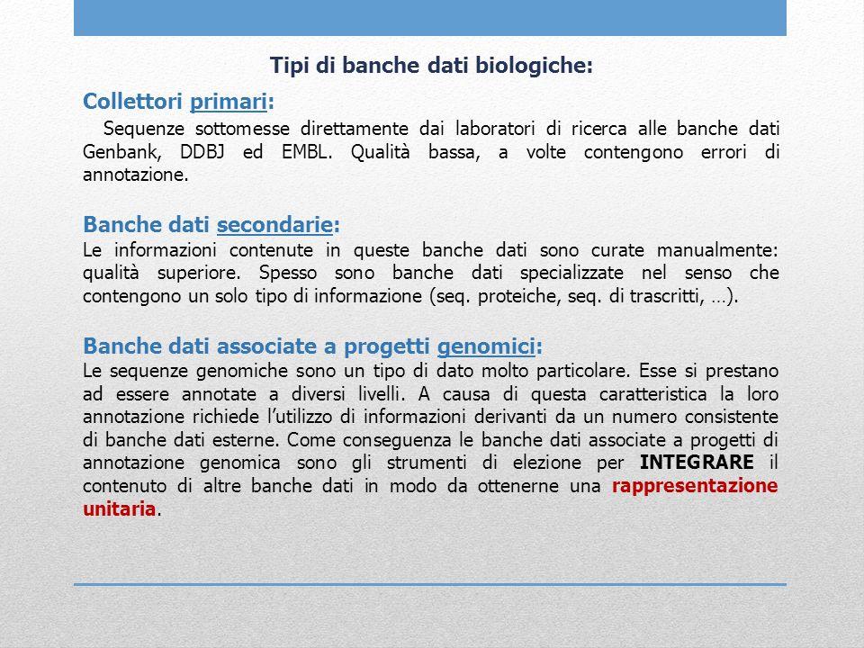 Collettori primari: Sequenze sottomesse direttamente dai laboratori di ricerca alle banche dati Genbank, DDBJ ed EMBL. Qualità bassa, a volte contengo