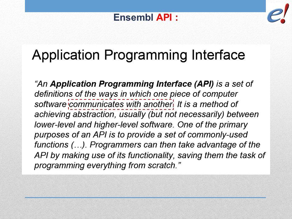 Ensembl API :
