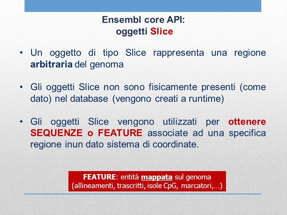 Ensembl core API: oggetti Slice Un oggetto di tipo Slice rappresenta una regione arbitraria del genoma Gli oggetti Slice non sono fisicamente presenti