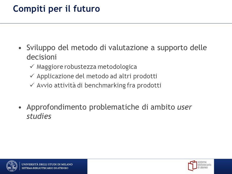 Compiti per il futuro Sviluppo del metodo di valutazione a supporto delle decisioni Maggiore robustezza metodologica Applicazione del metodo ad altri