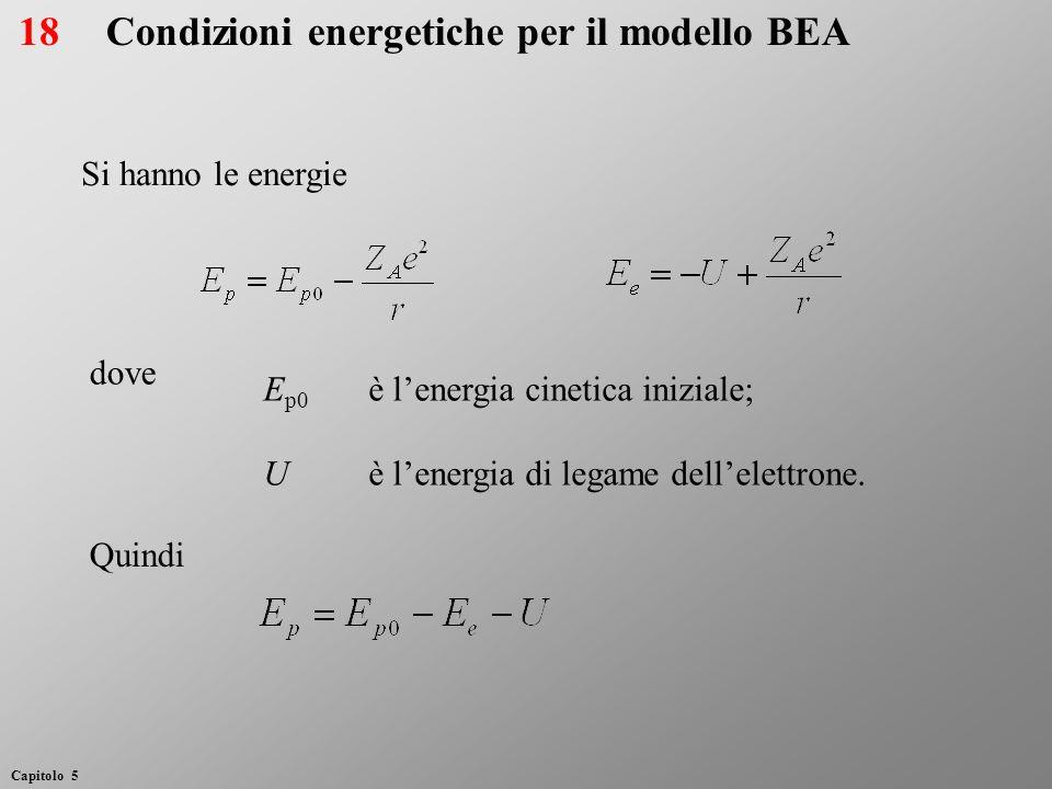 E p0 è lenergia cinetica iniziale; Uè lenergia di legame dellelettrone. Condizioni energetiche per il modello BEA Si hanno le energie dove Quindi 18 C