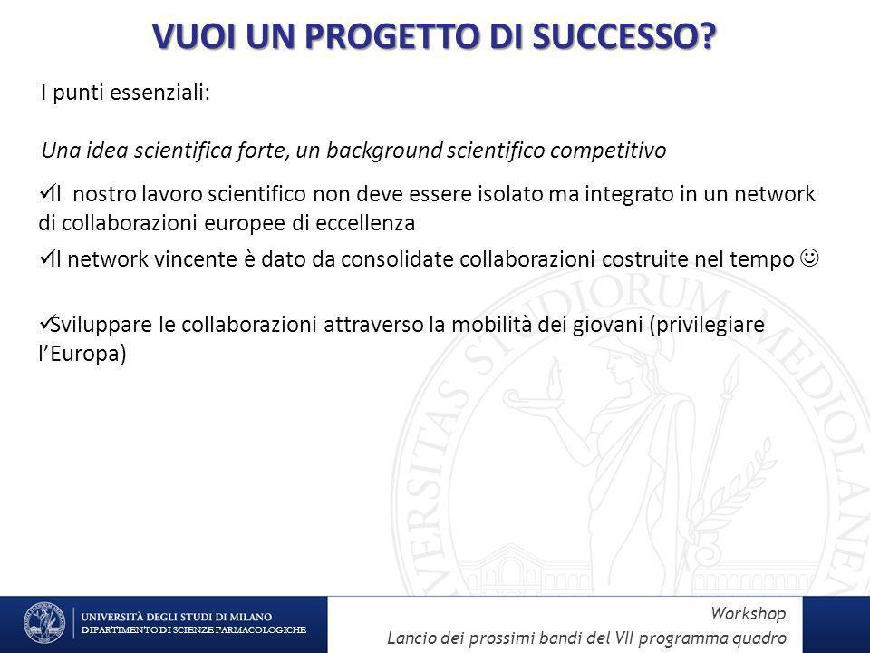 DIPARTIMENTO DI SCIENZE FARMACOLOGICHE Workshop Lancio dei prossimi bandi del VII programma quadro VUOI UN PROGETTO DI SUCCESSO.