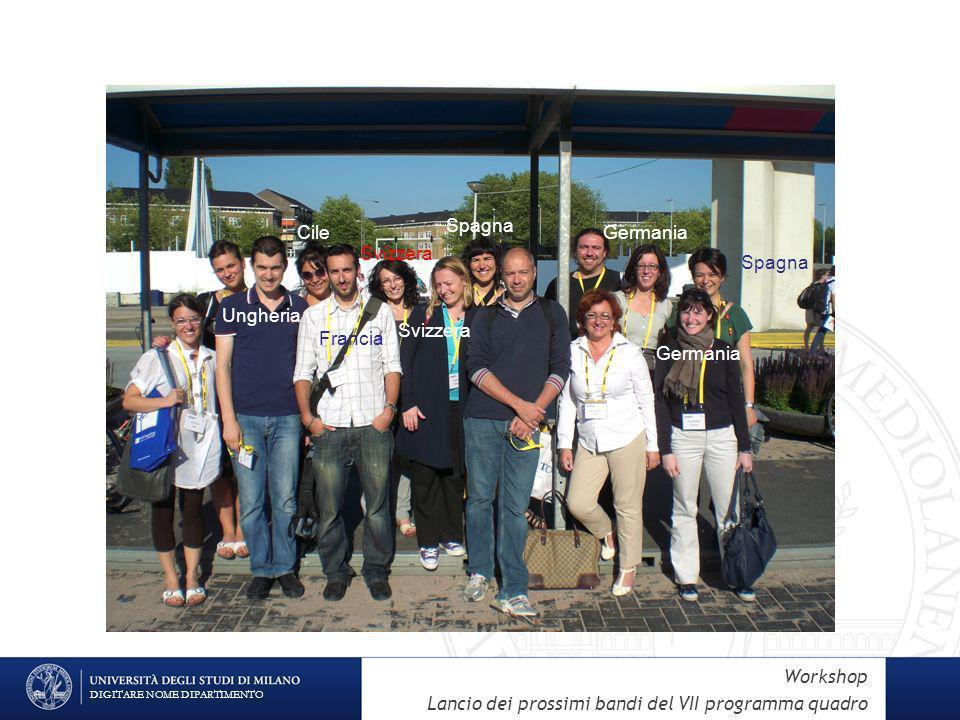 DIGITARE NOME DIPARTIMENTO Ungheria Cile Svizzera Germania Spagna Svizzera Francia Workshop Lancio dei prossimi bandi del VII programma quadro
