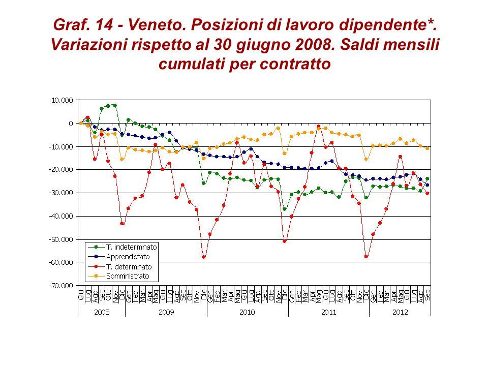 Graf. 14 - Veneto. Posizioni di lavoro dipendente*. Variazioni rispetto al 30 giugno 2008. Saldi mensili cumulati per contratto