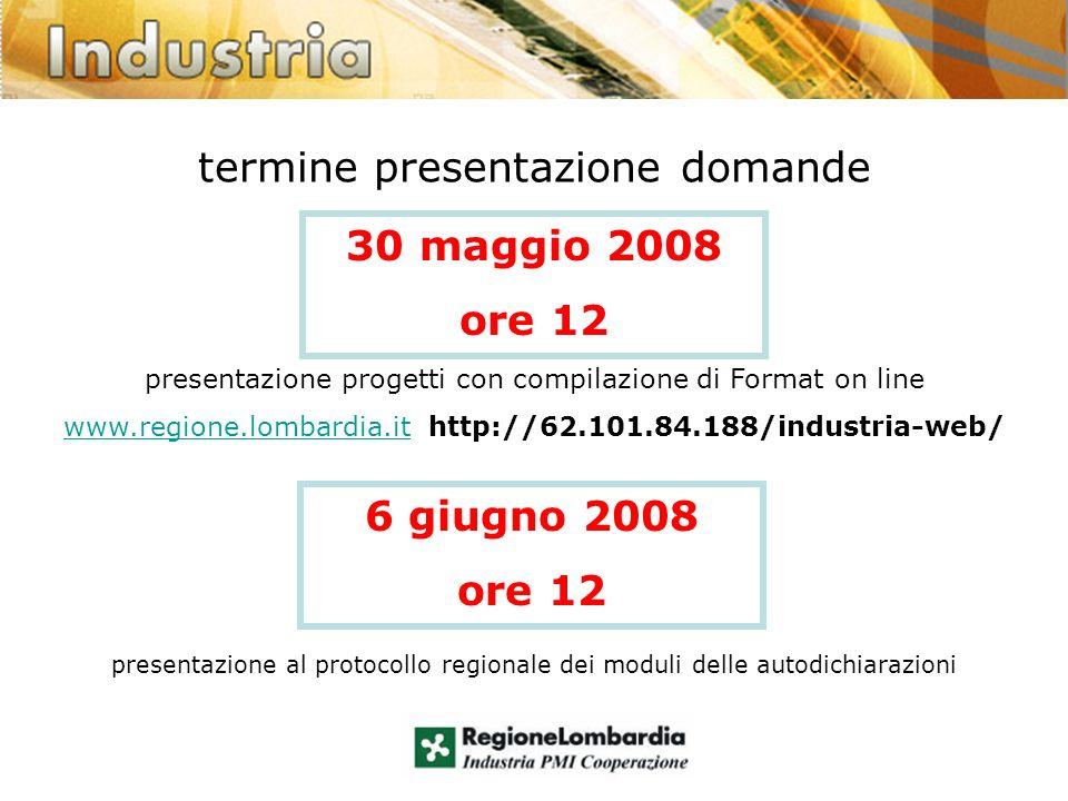 termine presentazione domande presentazione progetti con compilazione di Format on line www.regione.lombardia.itwww.regione.lombardia.it http://62.101.84.188/industria-web/ presentazione al protocollo regionale dei moduli delle autodichiarazioni 30 maggio 2008 ore 12 6 giugno 2008 ore 12